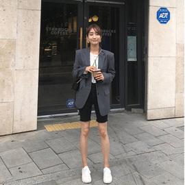 黑色牛仔短裤女夏季薄款网红高腰韩版弹力紧身显瘦骑行中裤五分裤图片