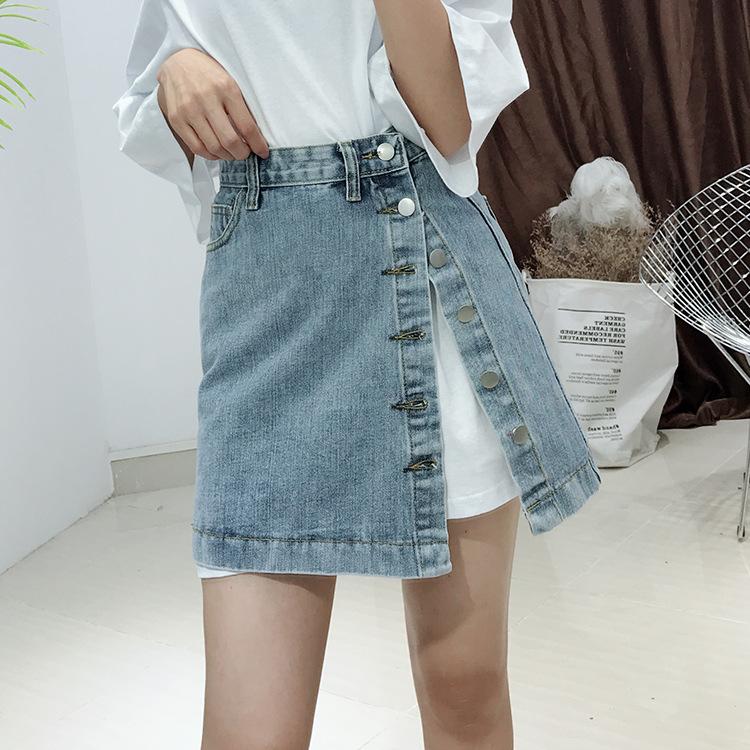 韩版口袋侧边竖排扣牛仔A字短裙女装性感动人林志玲美腿靓丽艳丽