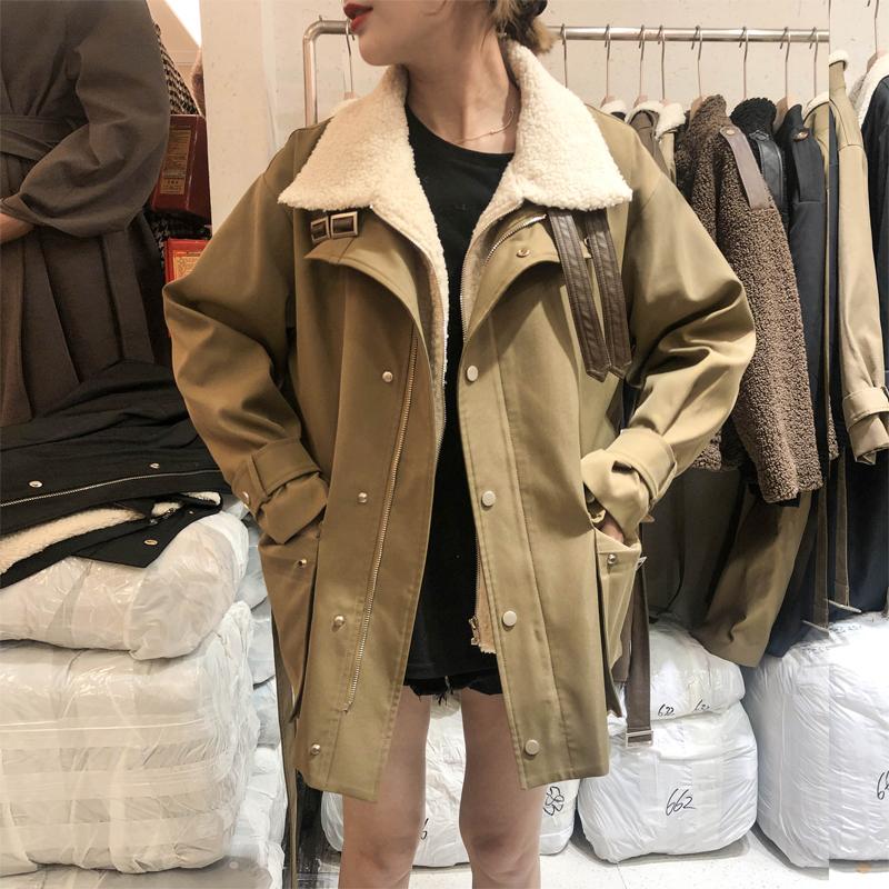 2019冬季韩版宽松小个子百搭风衣羊羔毛绒大衣加厚工装短款外套女