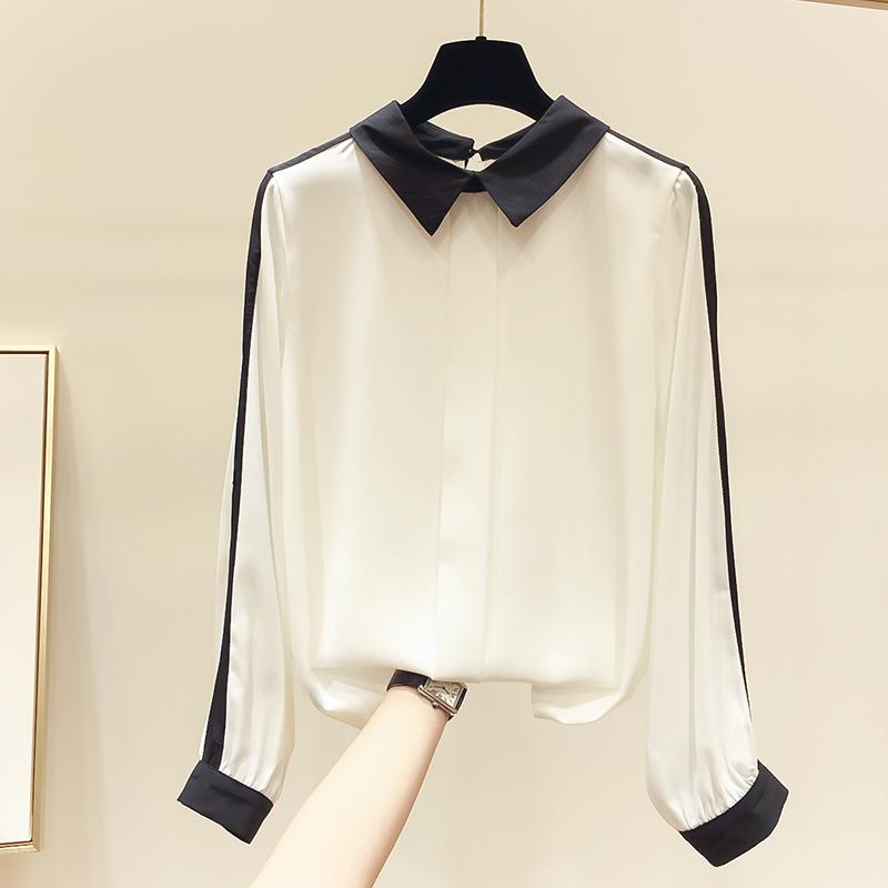 满159.00元可用80元优惠券2019秋季新款韩国气质显瘦翻领衬衫