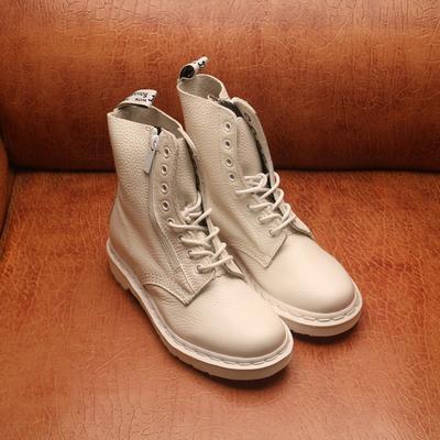 正品馬丁鞋8孔ZIP側拉鏈香港代購新款馬丁靴男女鞋白色軟皮1460