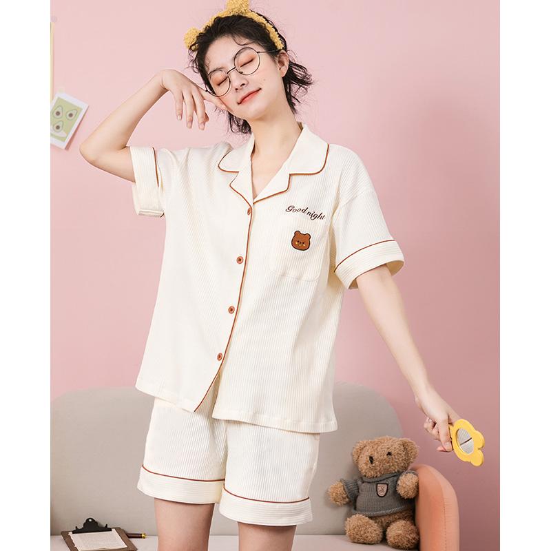 黛梦思小熊联名睡衣女夏季抽条纯棉短袖可外穿情侣家居服男士套装