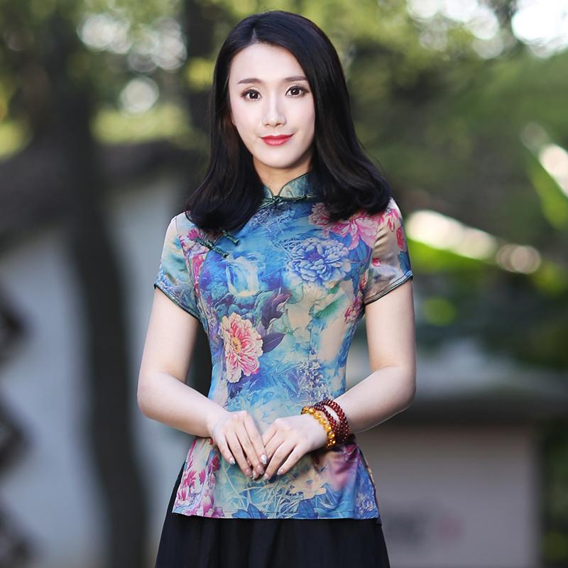 唐装女中式盘扣旗袍上衣复古中国风改良时尚夏装短款短袖民国女装