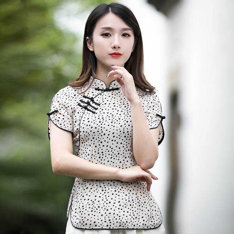 Tang suit women short-sleeved Chinese style cheongsam tops improved fashion short paragraph Republican style retro women