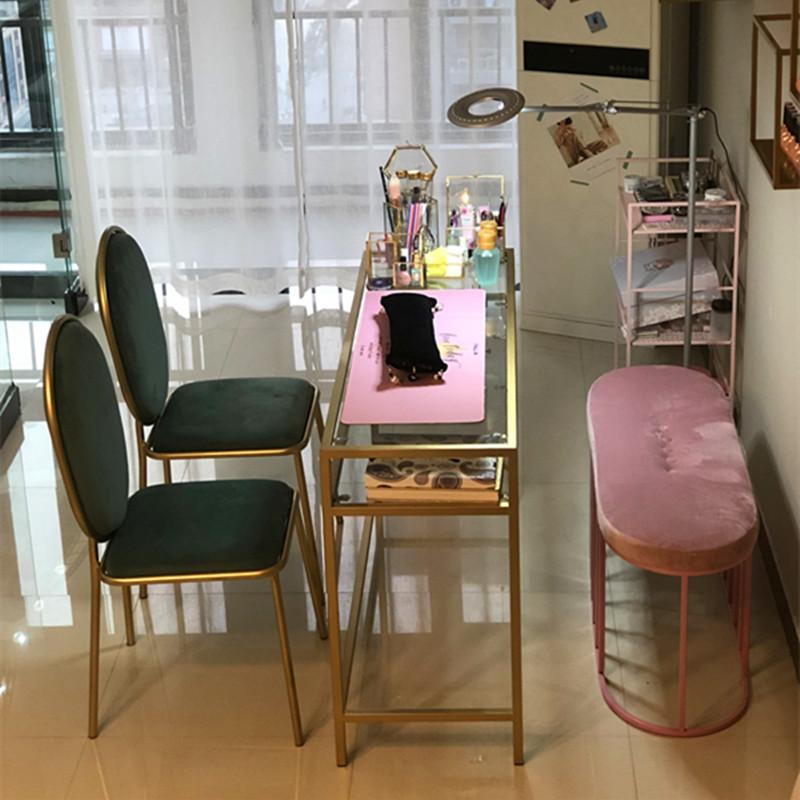 新款美甲桌子单人桌椅组合双人座北欧简约金色指甲桌修甲台长条桌