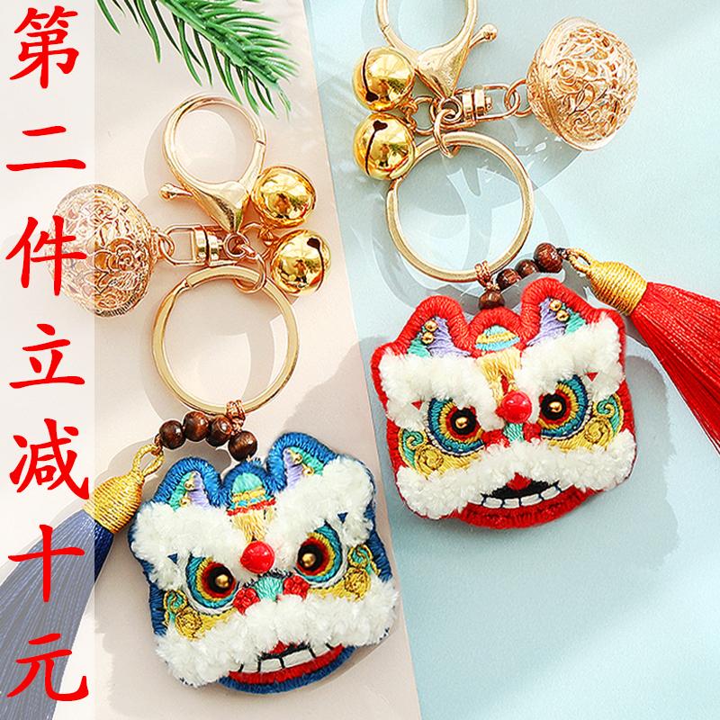 手工刺绣diy材料包 醒狮钥匙扣卡通平安符香包情侣挂件送男友礼物