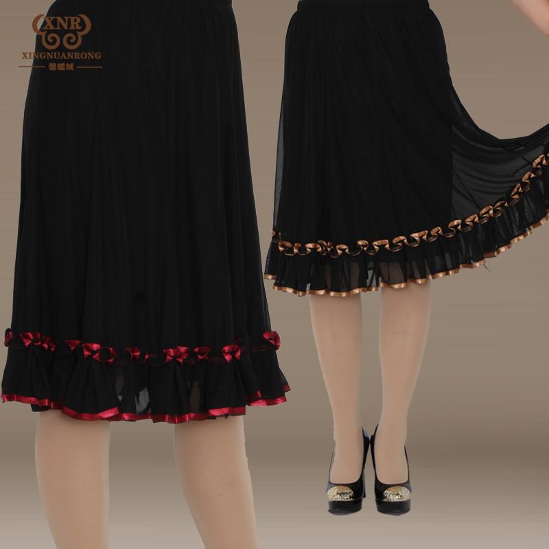中老年半身裙子妈妈半裙中年半身裙松紧腰半裙跳舞裙大码女装夏装