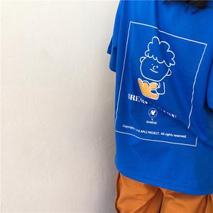 售价不低于29 春季韩国新款港味宽松显瘦后背简笔卡通T恤女
