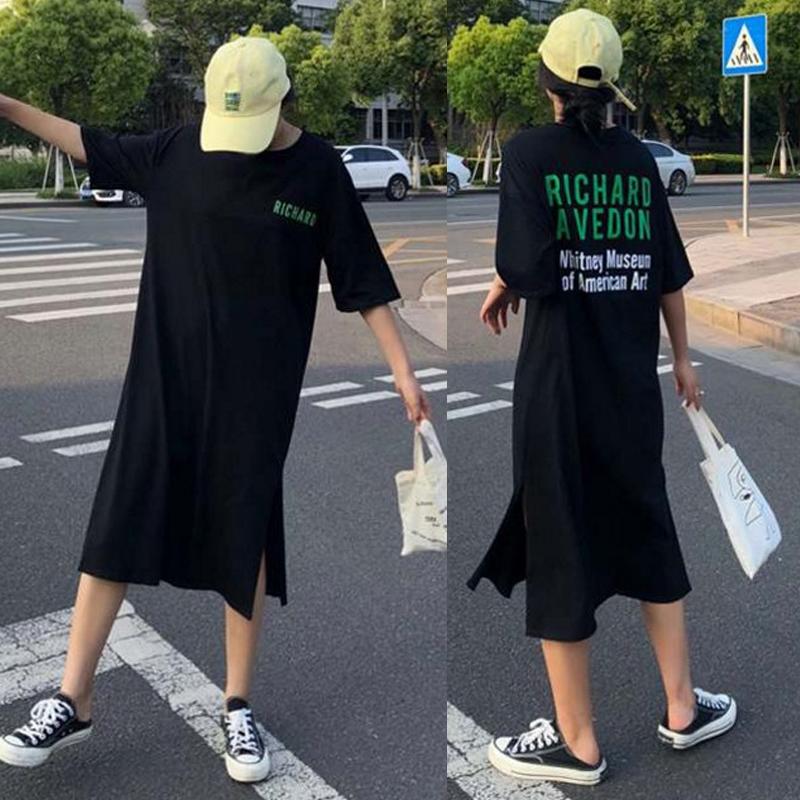 2018夏季新款加�L款�^膝T恤裙�n��后背字母印花 �_衩 T恤�B衣裙潮