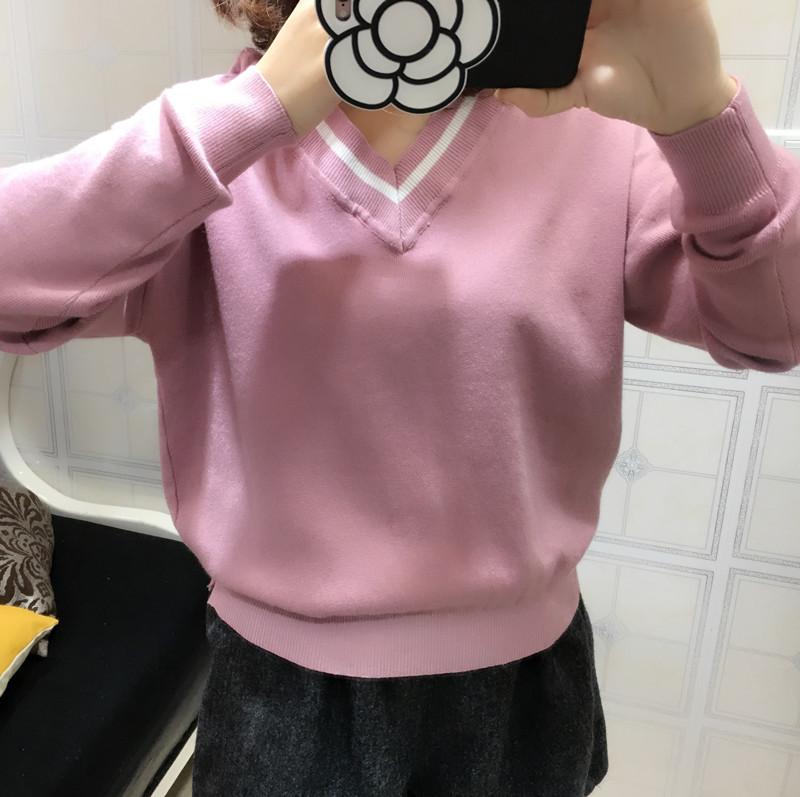 2017年V领女春秋冬套头学院风长袖打底衫宽松韩版毛线衣针织衫女