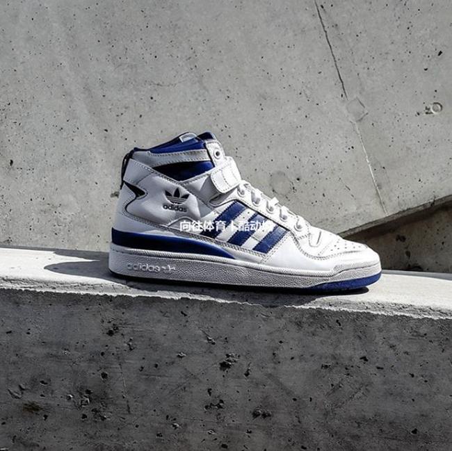 专柜正品 Adidas/三叶草 Forum Mid男子白蓝元年复古休闲鞋F37830