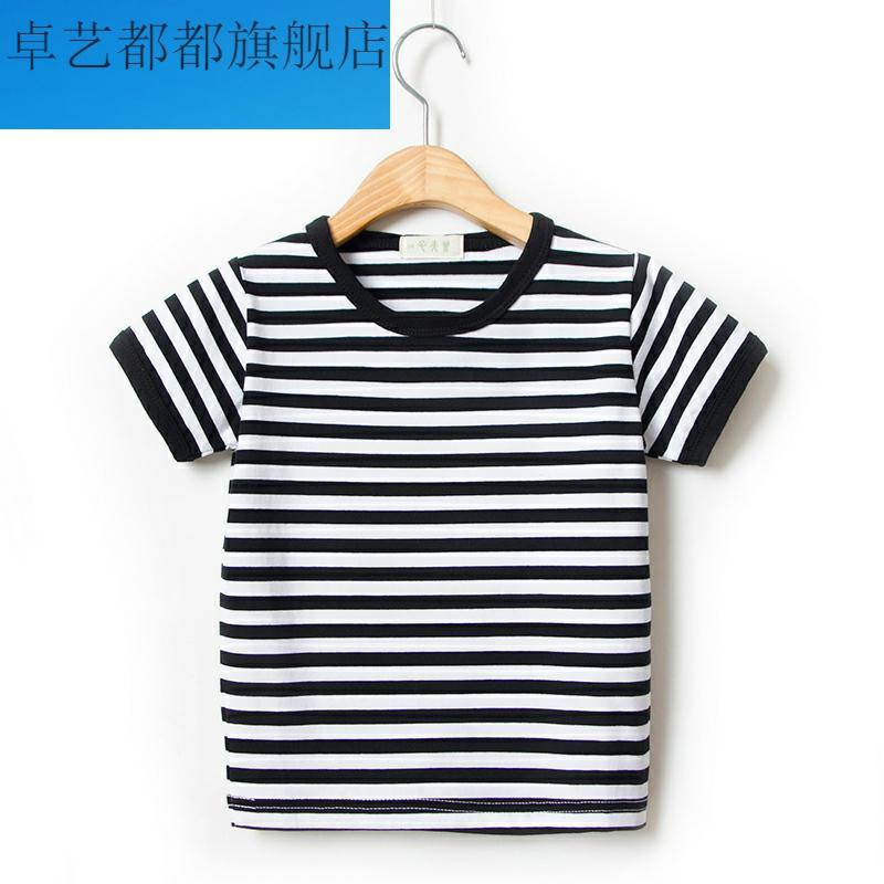 夏季男童女童宝宝海魂衫童装新款短袖T恤海军风儿童条纹学生半袖