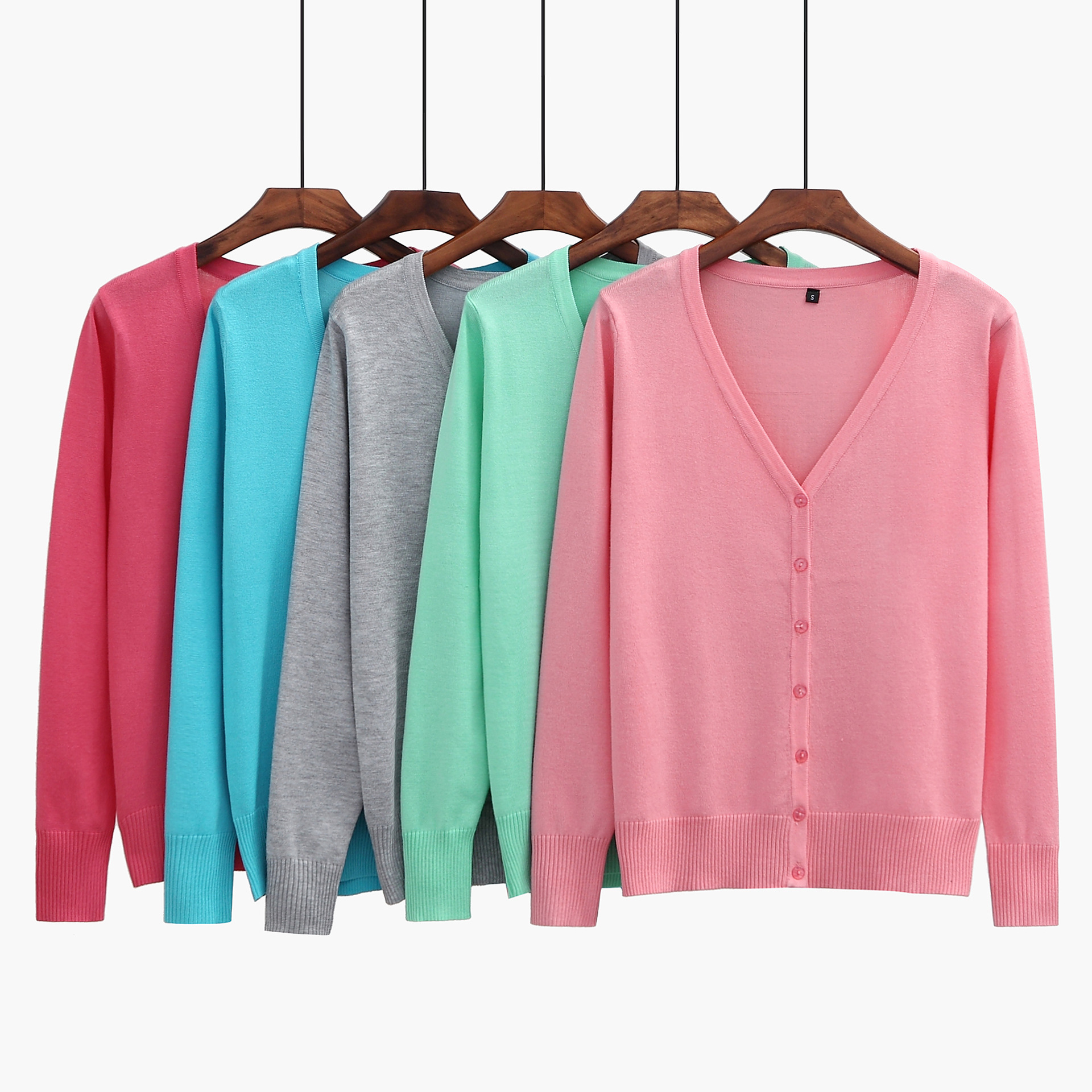 Womens wear spring and autumn 2021 new Korean slim thin knitwear plus extra large cardigan big collar sweater