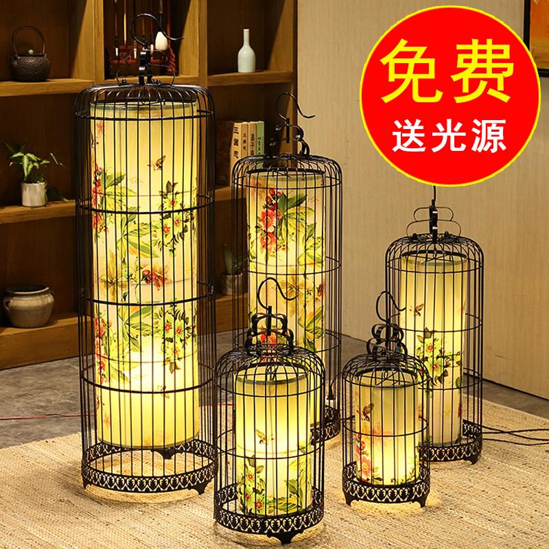古典铁艺吊灯中式鸟笼灯酒店餐厅挂灯复古灯饰落地式灯具创意灯笼