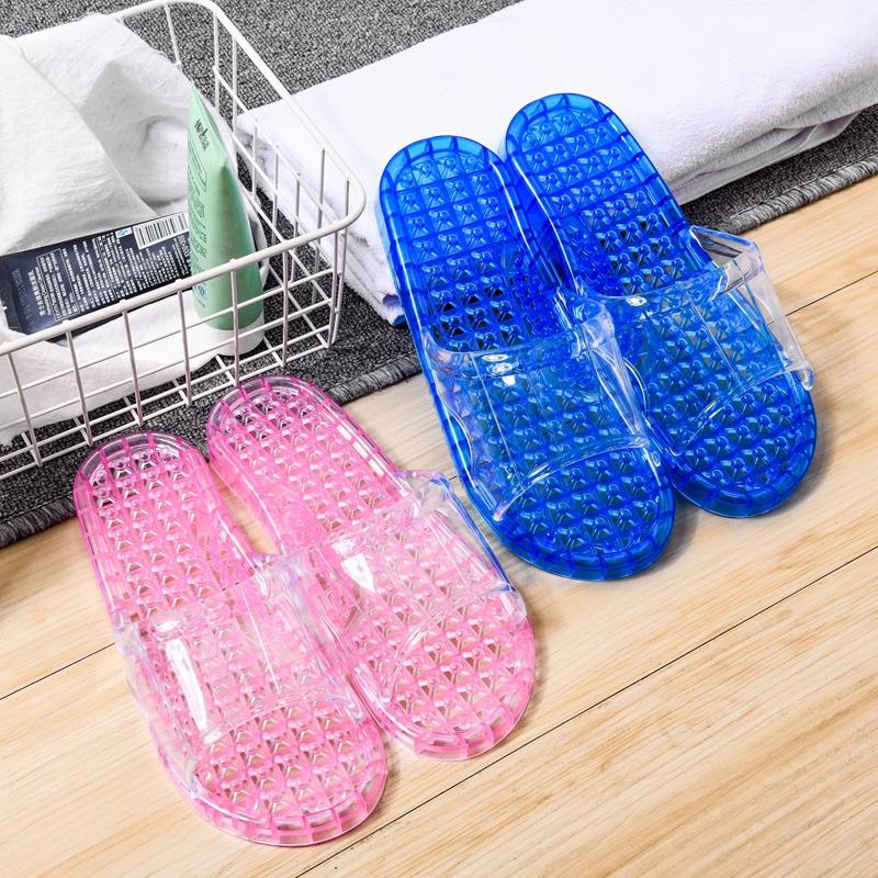 浴室拖鞋水晶镂空防滑男洗澡漏水塑料按摩家用居家凉拖鞋女夏室内