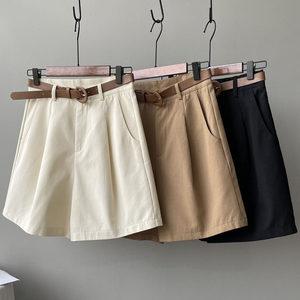 西装短裤女夏季韩版高腰宽松阔腿裤小个子休闲工装裤中裤五分裤子