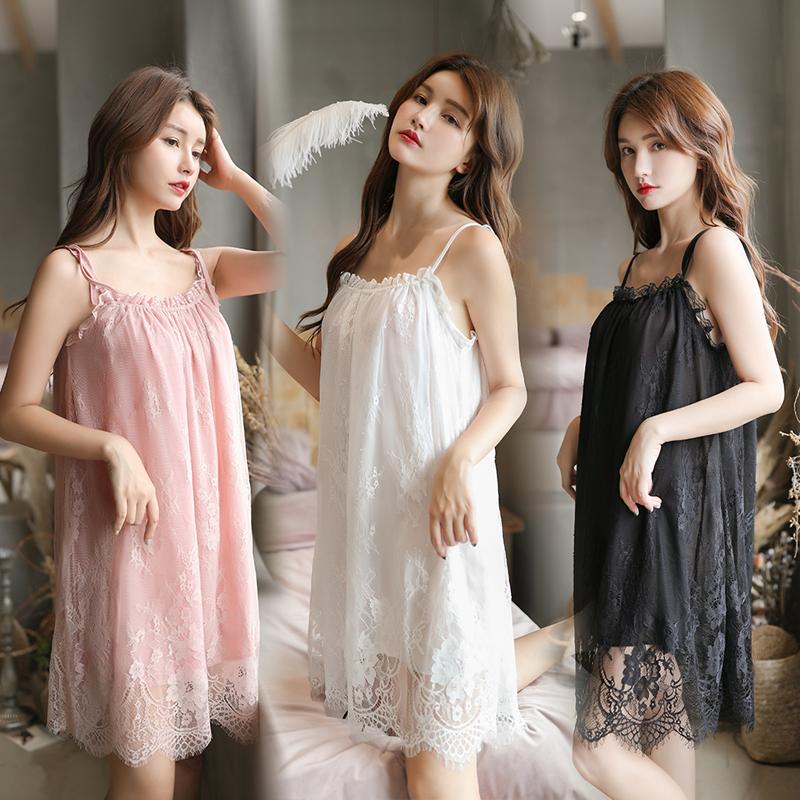 New nightdress womens suspender sexy nightdress Chiffon lining lace one-piece skirt summer thin pajamas