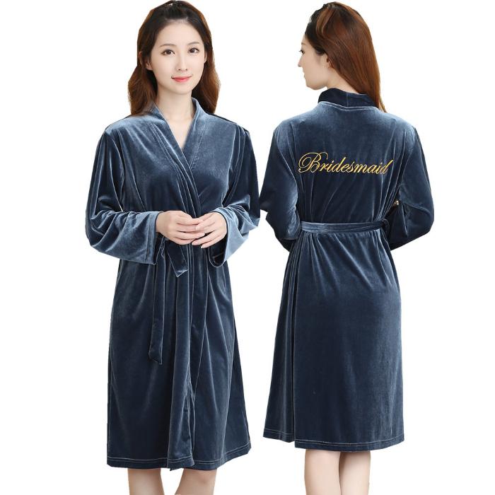 韩版金丝绒睡衣女春秋长袖睡袍绣花日系和服浴袍新娘晨袍伴娘礼服