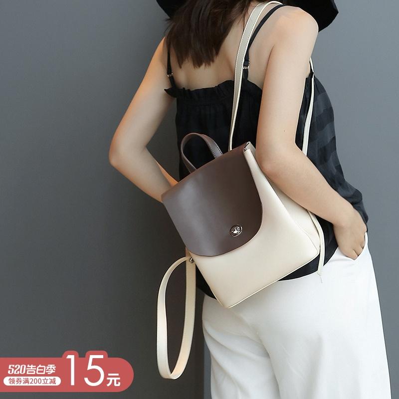 超火的双肩包女韩版2020新款百搭时尚高级感包包洋气软皮女士背包