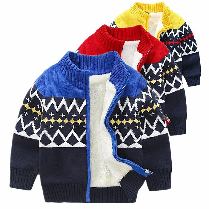 儿童毛衣加绒加厚男童外套2018冬宝宝立领开衫纯棉针织毛衫棉衣