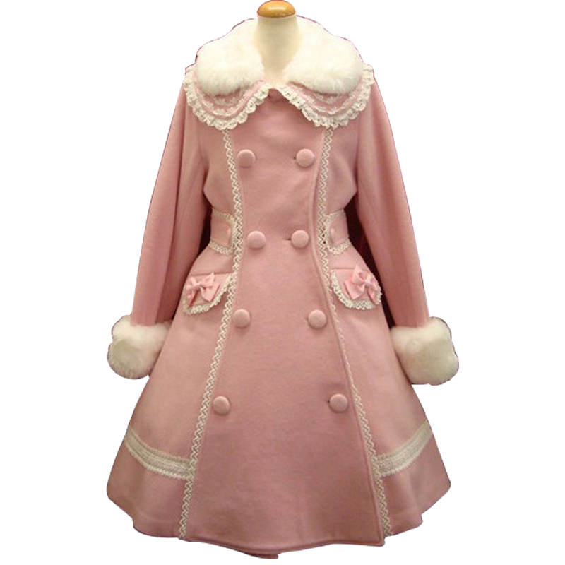Lolita Princess Dress autumn and winter womens double breasted lace collar coat warm woolen coat