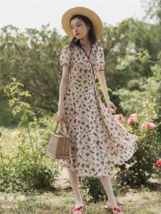 一塊布式小仙女清新碎花裙子復古氣質超仙一片式紙片人顯瘦連衣裙
