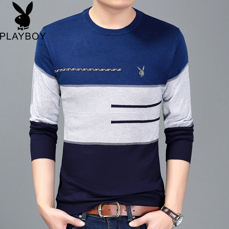 Playboy spring thin sweater mens round neck striped wool sweater mens bottomed shirt long sleeve mens T-shirt sweater