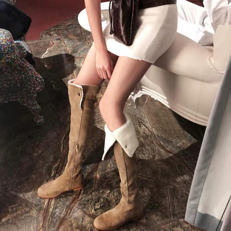 羊羔毛长筒靴女过膝长靴2020加绒显瘦雪地靴女平底网红高筒瘦瘦靴