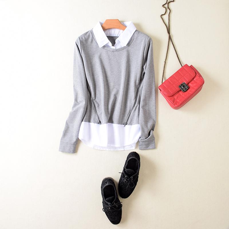 春秋款女装 假2件套灰白拼接纯棉长袖T恤