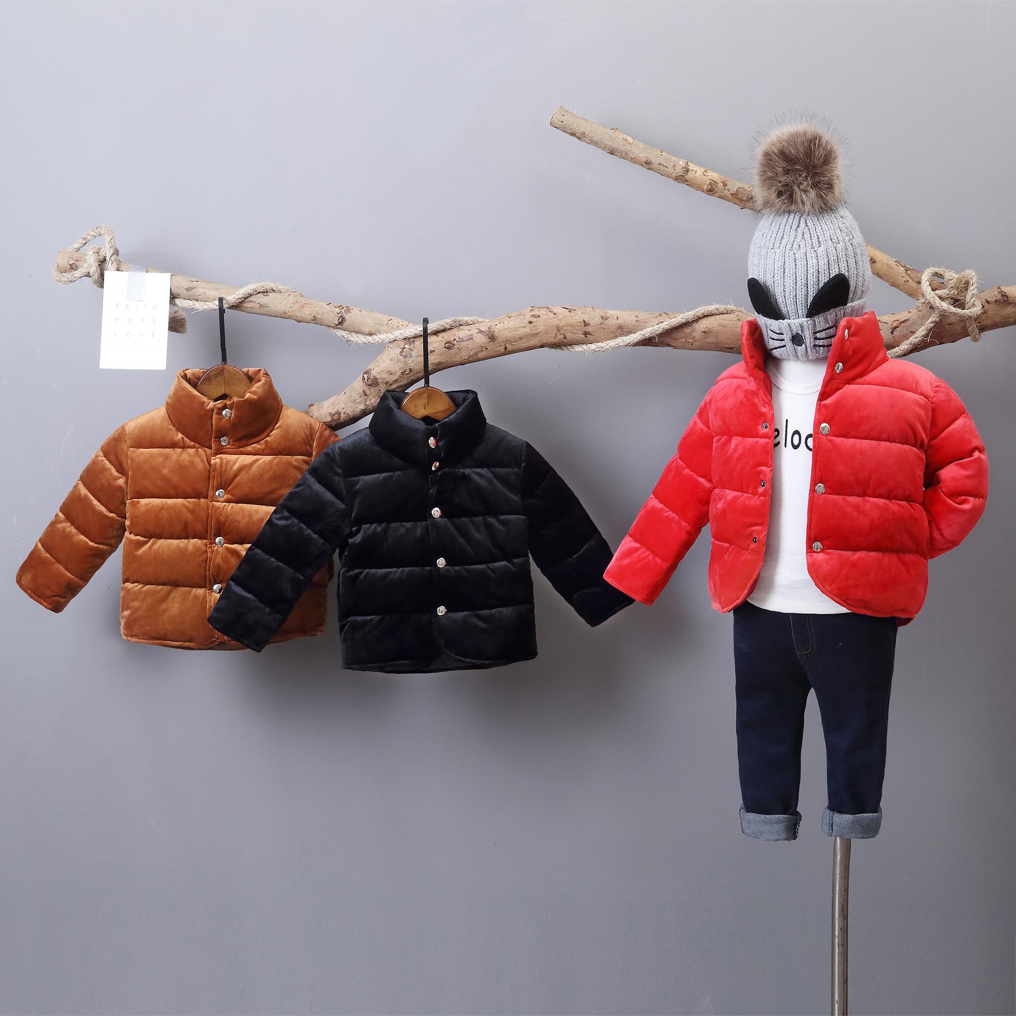 秋冬儿童金丝绒棉外套 中小童棉服 男童女童宝宝立领保暖棉衣加厚