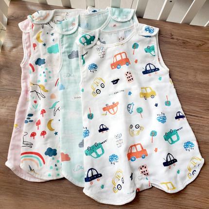 夏款纯棉纱布前4后2背心式分腿婴儿睡袋薄款宝宝睡衣儿童防踢被