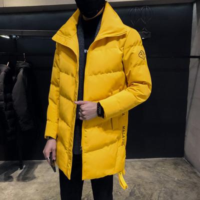 2018冬装字母刺绣侧边织带男士中长款棉衣外套 二色YY142/P175