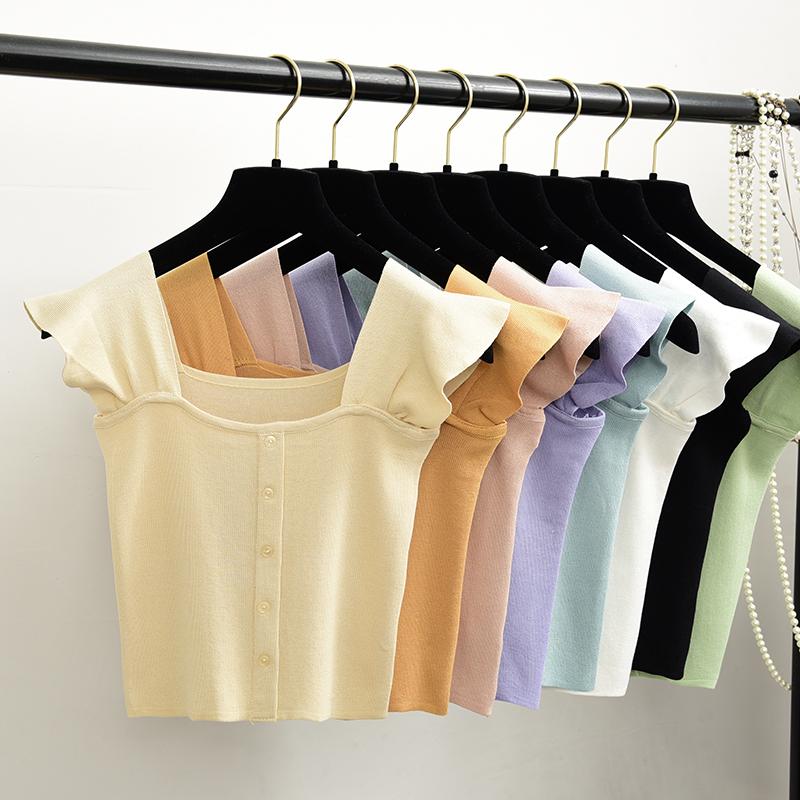 甜美Chic單排扣短款寬吊帶方領抹胸荷葉邊兩穿針織背心顯瘦上衣女