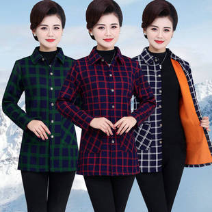 3中老年女装长袖衬衫妈妈装秋冬装格子保暖衬衣老年人加绒加厚外