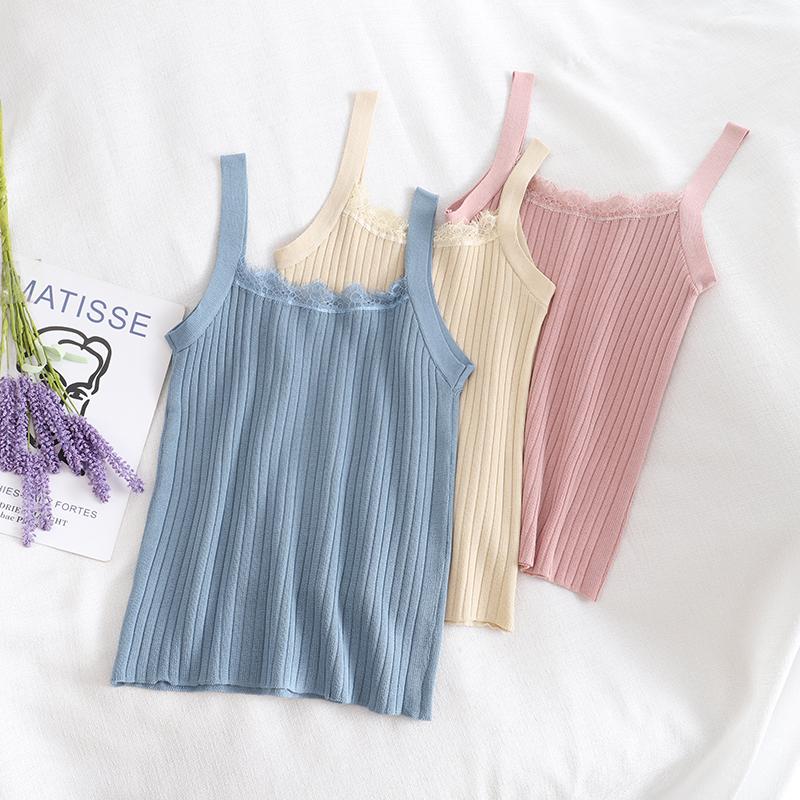 2856新款2020夏季女装外穿蕾丝花边吊带抹胸针织吊带短款背心上衣