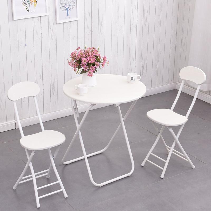 (用39元券)简易折叠桌椅组合便携餐桌摆摊桌家用吃饭桌子小圆桌阳台洽谈圆桌