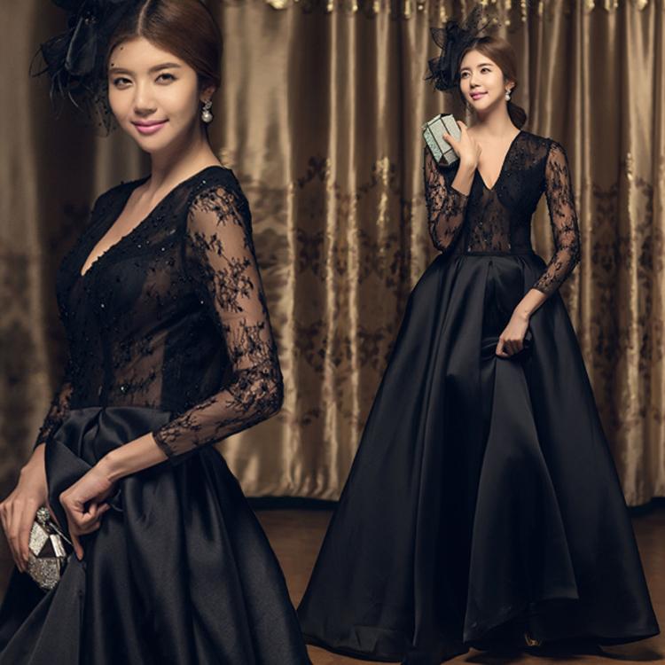 黑色2019新款韩版主持人宴会晚礼服