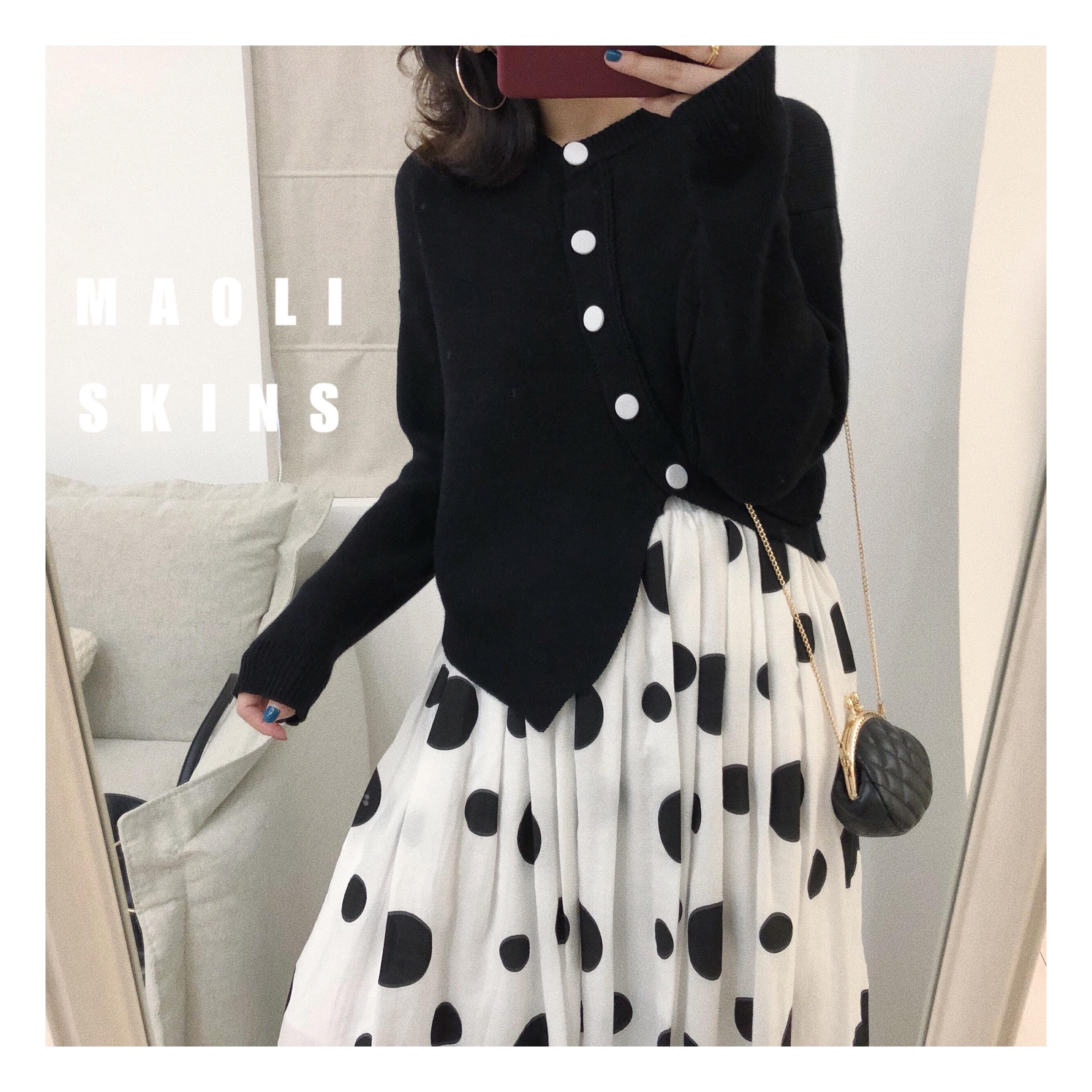 毛丽小四郎 斜门襟设计 斜织法毛衣开衫外套 慵懒气质黑色毛衣女
