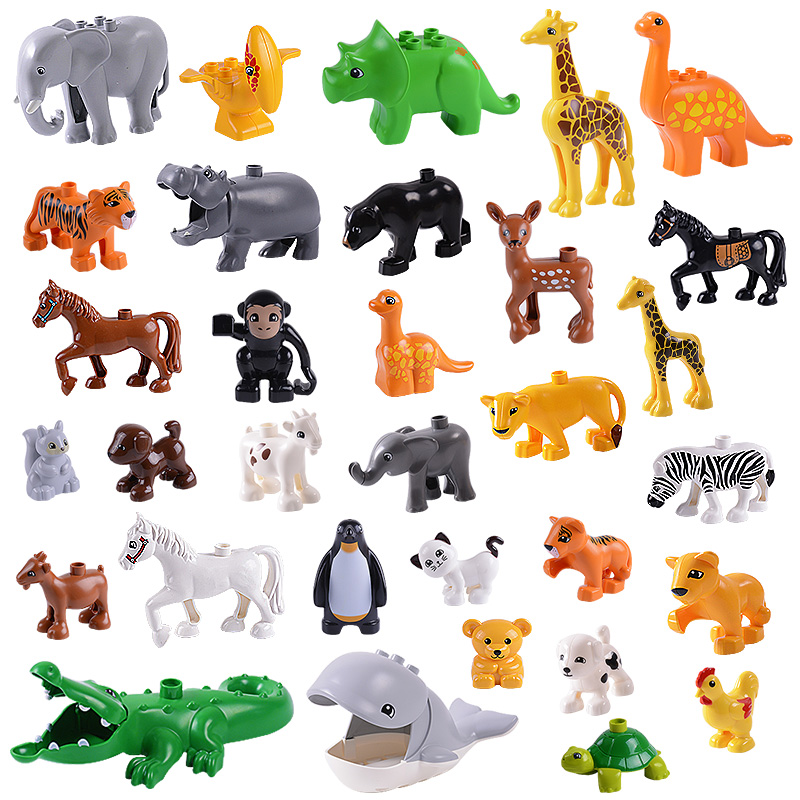 益智玩具大颗粒动物配件系列积木马 海豚山羊老虎豹子 熊猫动物园