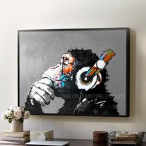 手绘油画现代简约客厅挂画斑马大猩猩北欧抽象装饰画动物壁画挂画