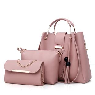 包包女2018新款斜挎女套包时尚单肩手提水桶女士箱包子母包三件套