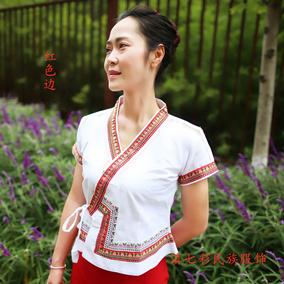 泰国白色v领百搭民族特色服装衬衫