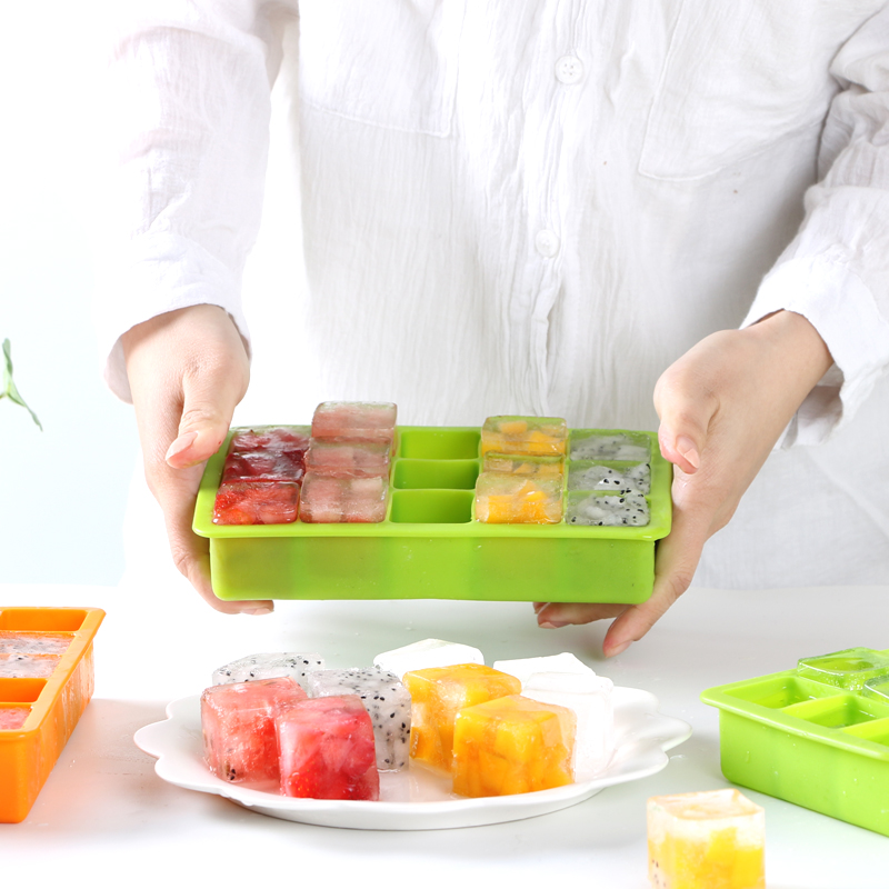 Ice box with cover, ice block mold, silica gel frozen ice box, refrigerator, household baby food box, sealed, anti odor