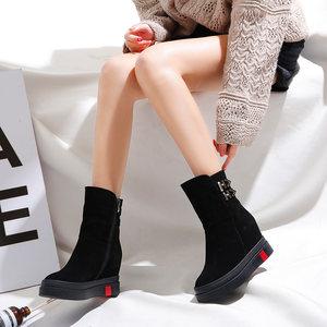中筒靴内增高真皮羊毛内里定制保暖加绒百搭雪地靴厚底马丁女短靴