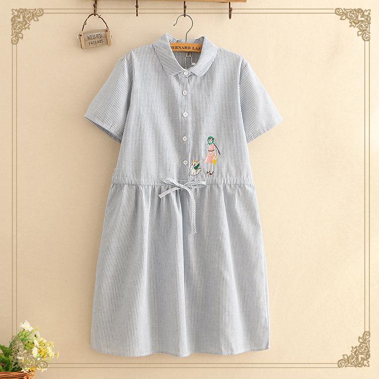 12-13-14-15-16岁17大童女孩夏装初中学生收腰系带短袖棉麻连衣裙