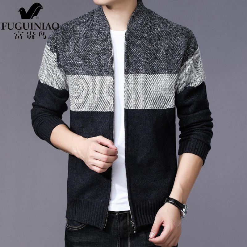 富贵鸟秋装新款 男士加绒条纹外套 韩版修身男装V领针织衫毛衣