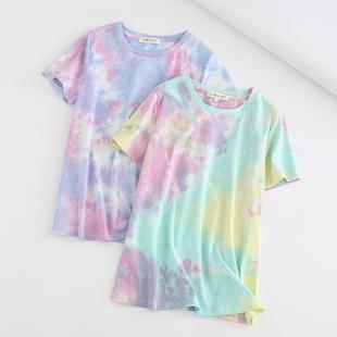 外貿女裝2019夏季新品色彩繽紛扎染彩色漸變圓領短袖T恤女上衣