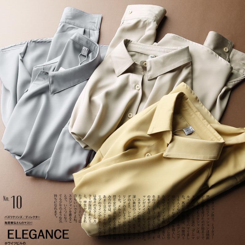 优雅自信休闲衬衣 气质翻领OL通勤长袖宽松垂感纯色衬衫上衣女潮