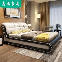 主臥儲物床榻榻米床布藝床米雙人床1.8真皮床現代簡約北歐高箱床