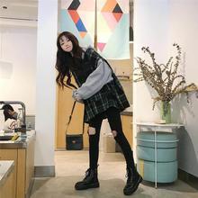 上衣外套女 拼接格子假两件连帽套头卫衣宽松长袖 2019秋冬新款 韩版